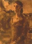 rechts unten mit Kugelschreiber: E. Seidel 48 Rückseite: Frau in Landschaft, Erich Seidel 1948